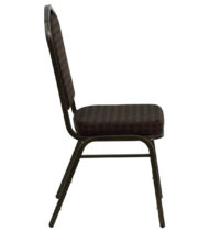 HERCULES Series Crown Back Stacking Banquet Chair with Brown Patterned Fabric and 2.5'' Thick Seat - Gold Vein Frame -17043