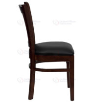 HERCULES Series Mahogany Finished Vertical Slat Back Wooden Restaurant Chair with Black Vinyl Seat -18281