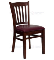 HERCULES Series Mahogany Finished Vertical Slat Back Wooden Restaurant Chair with Burgundy Vinyl Seat -0