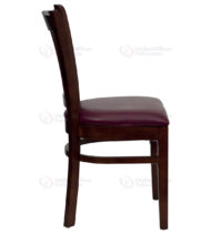 HERCULES Series Mahogany Finished Vertical Slat Back Wooden Restaurant Chair with Burgundy Vinyl Seat -18285