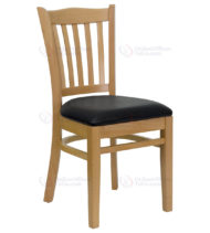 HERCULES Series Natural Wood Finished Vertical Slat Back Wooden Restaurant Chair with Black Vinyl Seat -0