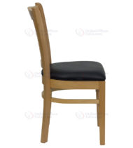 HERCULES Series Natural Wood Finished Vertical Slat Back Wooden Restaurant Chair with Black Vinyl Seat -18293