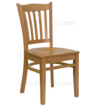 HERCULES Series Natural Wood Finished Vertical Slat Back Wooden Restaurant Chair -0