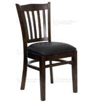 HERCULES Series Walnut Finished Vertical Slat Back Wooden Restaurant Chair with Black Vinyl Seat -0
