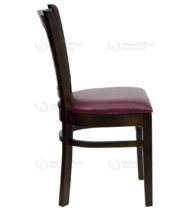 HERCULES Series Walnut Finished Vertical Slat Back Wooden Restaurant Chair with Burgundy Vinyl Seat -18309