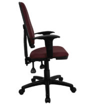 Mid-Back Burgundy Fabric Multi-Functional Task Chair with Arms and Adjustable Lumbar Support -0