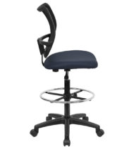 Mid-Back Mesh Drafting Stool with Navy Blue Fabric Seat -17439