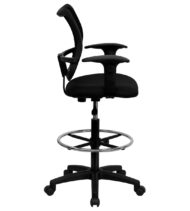 Value Star Mesh Drafting Stool with Black Fabric Seat and Arms -17399