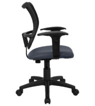 Mid-Back Mesh Task Chair with Navy Blue Fabric Seat and Arms -17435