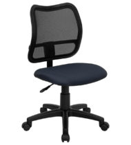 Mid-Back Mesh Task Chair with Navy Blue Fabric Seat -0