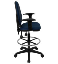 Mid-Back Navy Blue Fabric Multi-Functional Drafting Stool with Arms and Adjustable Lumbar Support -17479