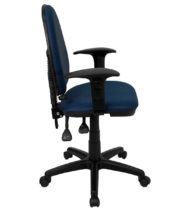 Mid Back Navy Blue Fabric Multi-Functional Task Chair with Arms and Adjustable Lumbar Support -17483
