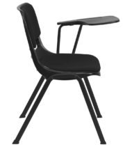 Padded Black Ergonomic Shell Chair with Left Handed Flip-Up Tablet Arm -17127
