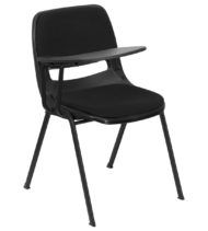 Padded Black Ergonomic Shell Chair with Right Handed Flip-Up Tablet Arm -0
