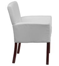 White Leather Executive Side Chair or Reception Chair with Mahogany Legs -18603