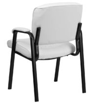 White Leather Guest / Reception Chair with Black Frame Finish -18600