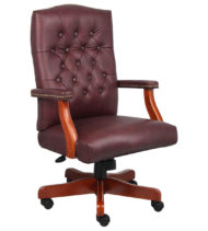 Boss Executive Burgundy Leather Chair With Cherry Finish-0