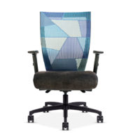 Front view of a Run II office chair with plush grey cushion and blue patchwork style mesh back.