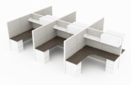 6-Person set of L-shaped workstations, with a beveled style on the inner corner. A single shelf is just above, with a cabinet as part of its right side. Mobile pedestal drawers are underneath each side of each work area. This is rendered on a white background. Model is EV512.6-Person set of L-shaped workstations, with a beveled style on the inner corner. A single shelf is just above, with a cabinet as part of its right side. Mobile pedestal drawers are underneath each side of each work area. This is rendered on a white background. Model is EV512.