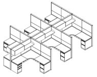 Technical drawing of Global's Evolve EV512 System, configured as a 6 pack of office cubicles. The L shaped desk has a beveled inside corner, and a set of desk drawers on each outer side. Above, is a cabinet with door that swivels downwards. A shelf rests to one side.