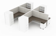 4-Person set of L-shaped workstations, with a tall cabinet at the outer edge. Two shelves face to the user. A rolling pair of drawers is placed opposite. It is rendered on a white background. Model is EV513.