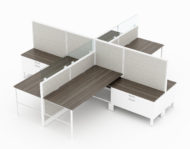 4-Person set of L-shaped workstations, with high paneling, end to end. On the lower desk surface, a wide filing drawer is placed underneath. By one's foot, a small shelf can hold additional possessions. Model is CM507.