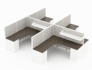 4-Person set of L-shaped workstations, with high paneling, end to end. A shelf is set above each workstation. A pair of supply and file drawers are placed at each side, under the desk. Model is CM511.