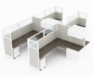 4-Person set of L-shaped workstations, with a smooth inside edge. Under the table is a wide filing drawer, and a set of rollaway pedestal drawers. Above is a storage compartmet with door that swings out. Model is CM515.