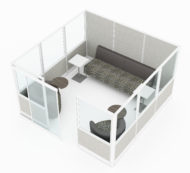 Full 9x9 foot cubicle, set for casual seating and collaborating. Clear space dividers make up the top half of 3 walls for this cubicle. A frosted acrylic door is slid to the left, for people to enter. Model is CM520.