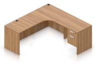 """Orthographic view of an Offices to Go 71"""" corner desk with left side extension. Its inner edge is curved, and it has a set of two hanging office drawers to the right of it, with a lock on the top. This layout is featured in a Autumn Walnut finish."""