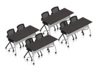 """Orthographic view of an Offices to Go training table and nesting chair set, using Layout 10. This set consists of four 60"""" wide flip top training tables arranged two by two. Each table has a tungsten finished base with caster wheels. At each table are two black nesting chairs with casters. The table has a American Espresso laminate finish."""