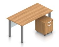 """Orthographic view of an Offices to Go set of desks and surfaces, using Layout 1. A 60"""" wide metal table has an acrylic privacy panel underneath, at the front. A set of pedestal drawers has been rolled under the desk. This layout is shown here in an Autumn Walnut finish, with tungsten finished metal legs."""