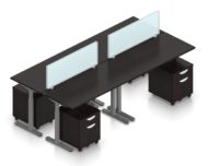 """Orthographic view of an Offices to Go set of tables, using Layout 8. Four 48"""" wide worksurfaces are formed, with an acrylic screen dividing facing workstations. Each table has an I-shaped support frame that is height adjustable. All tables are at equal height in this image. A set of pedestal drawers has been rolled under each desk. This layout is shown here in an American Espresso finish, with tungsten finished metal legs."""