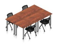 """Orthographic view of an Offices to Go set of tables, using Layout 9. Four 60"""" wide metal tables are formed, with locking casters. An OTG mesh-back flip seat nesting chair is placed at each of the 4 work areas, also sporting casters. This layout is shown here in an American Dark Cherry finish, with tungsten finished metal legs."""
