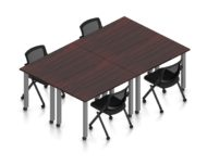 """Orthographic view of an Offices to Go set of tables, using Layout 9. Four 60"""" wide metal tables are formed, with locking casters. An OTG mesh-back flip seat nesting chair is placed at each of the 4 work areas, also sporting casters. This layout is shown here in an American Mahogany finish, with tungsten finished metal legs."""