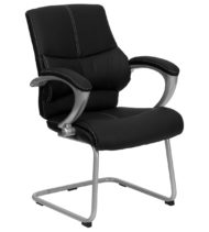 Black Leather Executive Side Chair -0