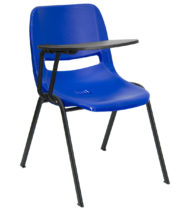Blue Ergonomic Shell Chair with Right Handed Flip-Up Tablet Arm -0