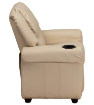 Contemporary Beige Vinyl Kids Recliner with Cup Holder and Headrest -15649