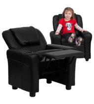 Contemporary Black Vinyl Kids Recliner with Cup Holder and Headrest -0
