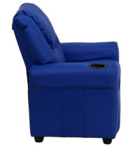 Contemporary Blue Vinyl Kids Recliner with Cup Holder and Headrest -15659