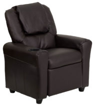 Contemporary Brown Vinyl Kids Recliner with Cup Holder and Headrest -0