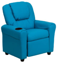 Contemporary Turquoise Vinyl Kids Recliner with Cup Holder and Headrest -0