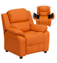 Deluxe Heavily Padded Contemporary Orange Vinyl Kids Recliner with Storage Arms -0