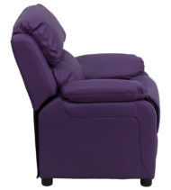 Deluxe Heavily Padded Contemporary Purple Vinyl Kids Recliner with Storage Arms -15424