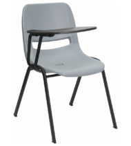 Gray Ergonomic Shell Chair with Right Handed Flip-Up Tablet Arm -0