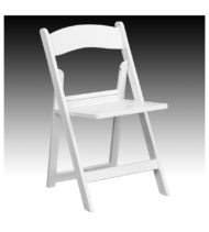 HERCULES Series 1000 lb. Capacity White Resin Folding Chair with Slatted Seat -0