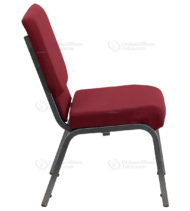 HERCULES Series 18.5'' Wide Burgundy Stacking Church Chair with 4.25'' Thick Seat - Silver Vein Frame -17733