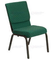 HERCULES Series 18.5'' Wide Green Patterned Stacking Church Chair with 4.25'' Thick Seat - Gold Vein Frame -0