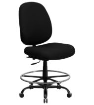 HERCULES Series 400 lb. Capacity Big and Tall Black Fabric Drafting Stool with Extra WIDE Seat -0