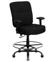 HERCULES Series 400 lb. Capacity Big & Tall Black Fabric Drafting Stool with Arms and Extra WIDE Seat -0